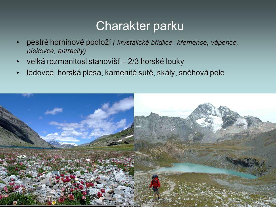 Charakter parku pestré horninové podloží ( krystalické břidlice, křemence, vápence, pískovce, antracity) velká rozmanitost stanovišť – 2/3 horské louk