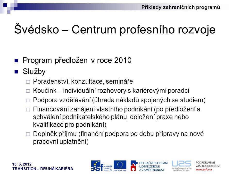 Příklady zahraničních programů 13. 6. 2012 TRANSITION – DRUHÁ KARIÉRA Švédsko – Centrum profesního rozvoje Program předložen v roce 2010 Služby  Pora