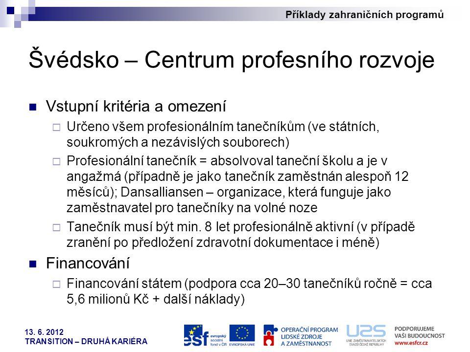 Příklady zahraničních programů 13. 6. 2012 TRANSITION – DRUHÁ KARIÉRA Švédsko – Centrum profesního rozvoje Vstupní kritéria a omezení  Určeno všem pr
