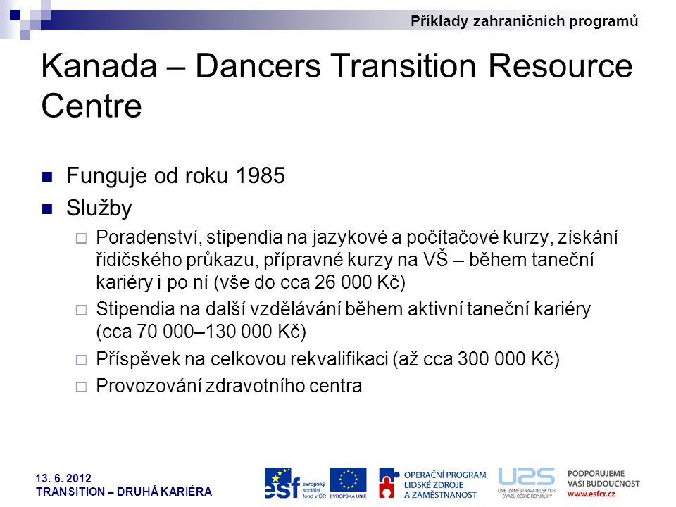 Příklady zahraničních programů 13. 6. 2012 TRANSITION – DRUHÁ KARIÉRA Kanada – Dancers Transition Resource Centre Funguje od roku 1985 Služby  Porade