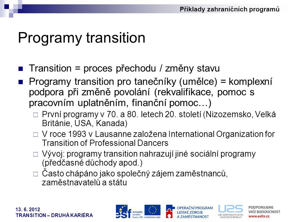 Příklady zahraničních programů 13. 6. 2012 TRANSITION – DRUHÁ KARIÉRA Programy transition Transition = proces přechodu / změny stavu Programy transiti