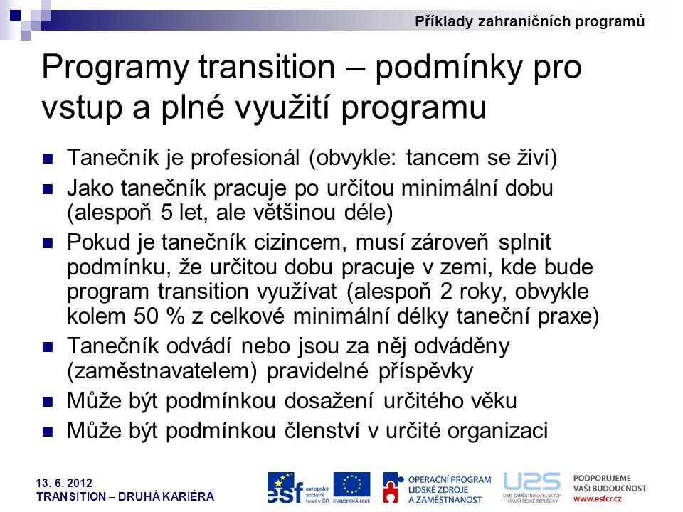 Příklady zahraničních programů 13. 6. 2012 TRANSITION – DRUHÁ KARIÉRA Programy transition – podmínky pro vstup a plné využití programu Tanečník je pro