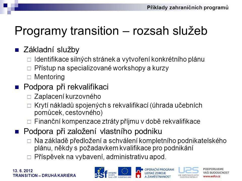 Příklady zahraničních programů 13. 6. 2012 TRANSITION – DRUHÁ KARIÉRA Programy transition – rozsah služeb Základní služby  Identifikace silných strán