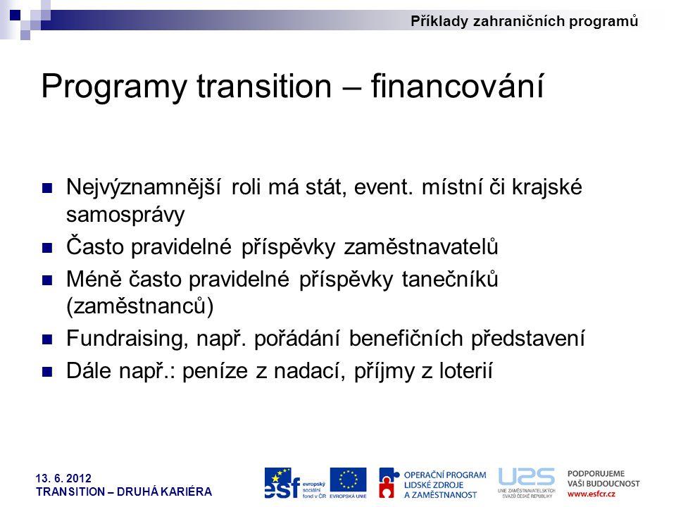Příklady zahraničních programů 13. 6. 2012 TRANSITION – DRUHÁ KARIÉRA Programy transition – financování Nejvýznamnější roli má stát, event. místní či