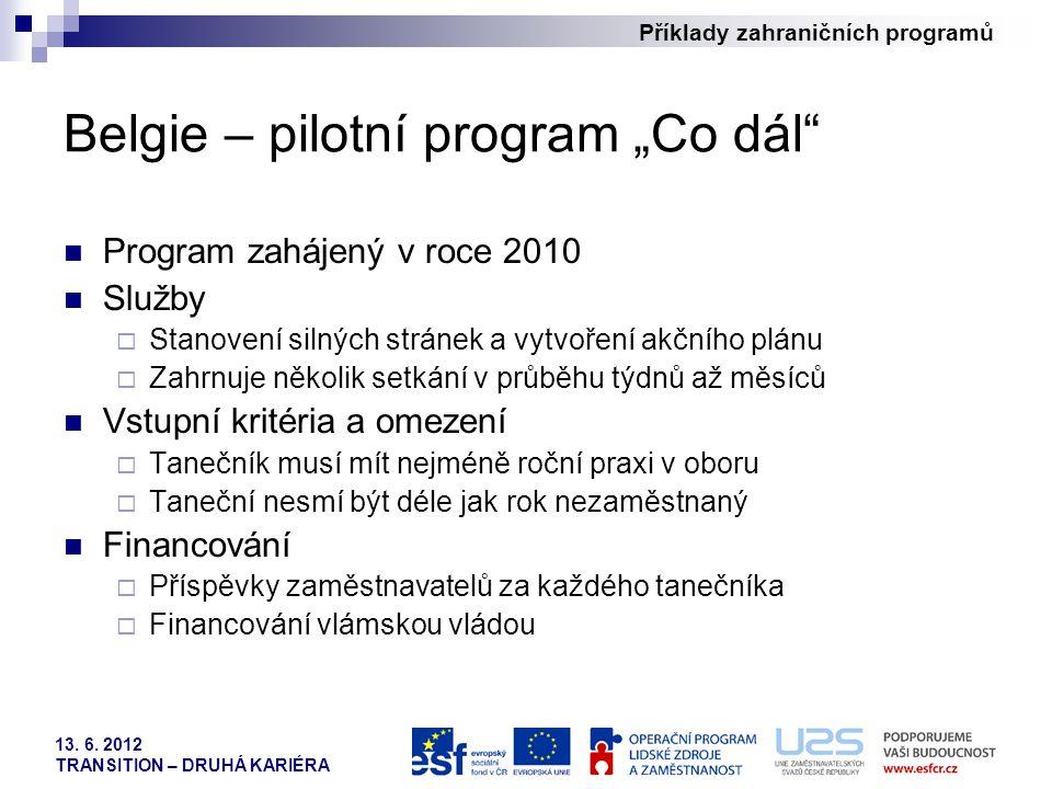 """Příklady zahraničních programů 13. 6. 2012 TRANSITION – DRUHÁ KARIÉRA Belgie – pilotní program """"Co dál"""" Program zahájený v roce 2010 Služby  Stanoven"""