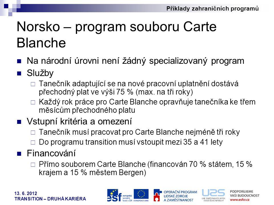 Příklady zahraničních programů 13. 6. 2012 TRANSITION – DRUHÁ KARIÉRA Norsko – program souboru Carte Blanche Na národní úrovni není žádný specializova