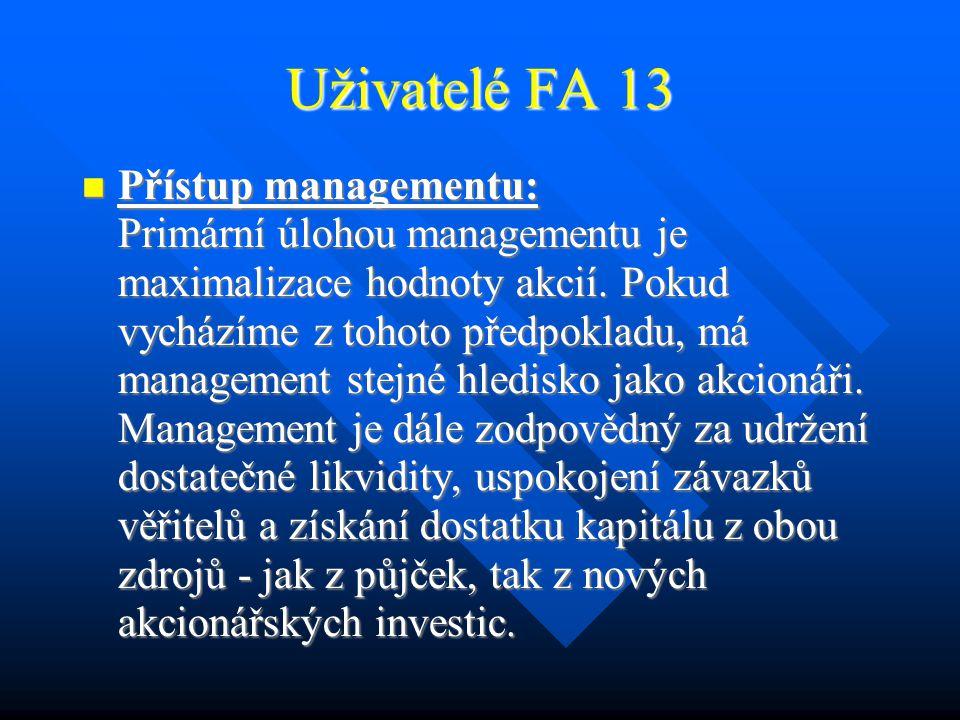 Uživatelé FA 12 Přístup akcionářů: Přístup akcionářů: Akcionáři mají zájem maximalizovat svůj zisk, tj.