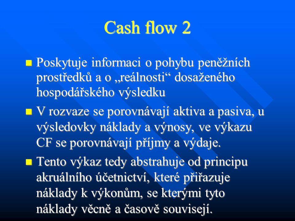 Cash flow 1 FA slouží k nalezení základních vztahů nutných k sestavení budoucích hotovostních toků FA slouží k nalezení základních vztahů nutných k sestavení budoucích hotovostních toků Máme k dispozici: historické účetní výkazy Máme k dispozici: historické účetní výkazy Potřebujeme: prognózu hotovostního toku, tzv.