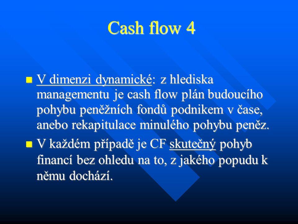"""Cash flow 3 Peněžní tok - cash flow: používá se v několika významech a časových dimenzích: Peněžní tok - cash flow: používá se v několika významech a časových dimenzích: V dimenzi statické: je to číslo – """"volná zásoba peněz, které má subjekt v daném časovém okamžiku k dispozici."""