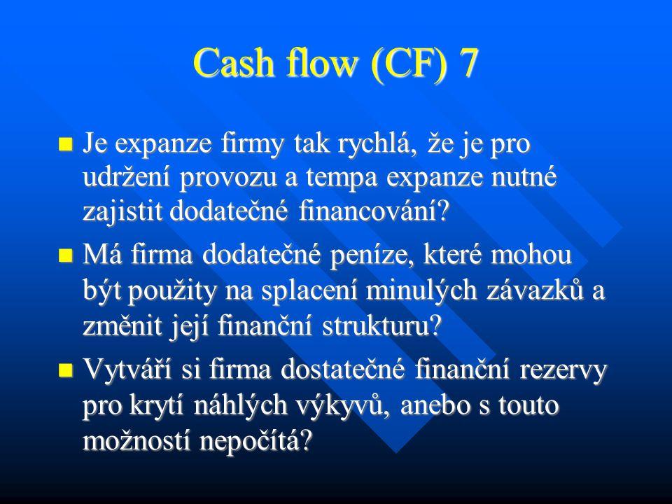 Cash flow (CF) 6 Pro zjištění likvidity firmy, měřené jako peněžní tok hledáme odpovědi na tyto otázky: Pro zjištění likvidity firmy, měřené jako peněžní tok hledáme odpovědi na tyto otázky: Má firma vždy dostatek peněz, když je potřebuje, a právě tam, kde je potřebuje.