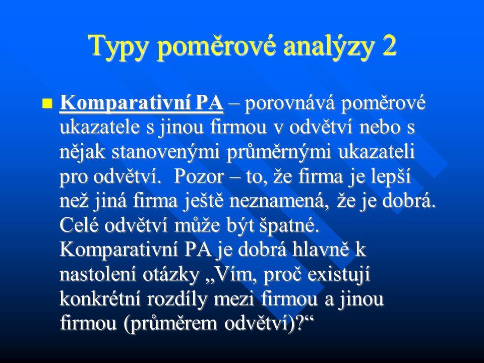 Typy poměrové analýzy 1 (Jak mohu PA provádět?) Komparativní PA Komparativní PA Horizontální PA Horizontální PA Vertikální PA Vertikální PA
