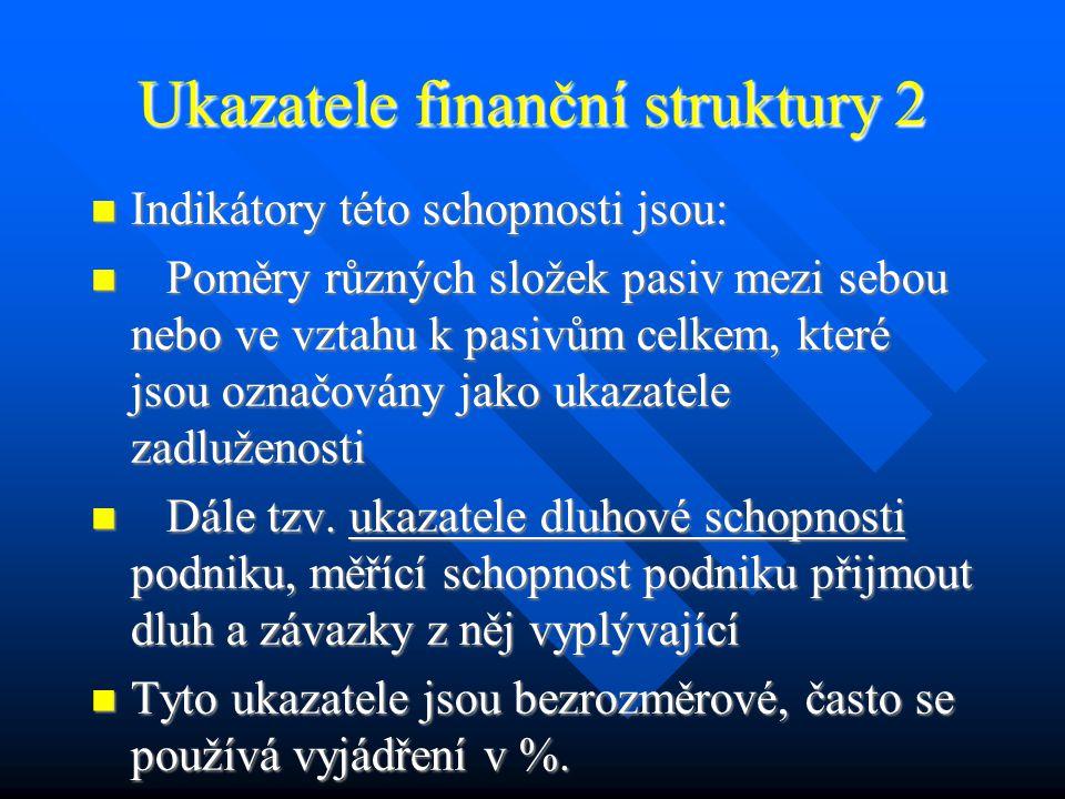 Ukazatele finanční struktury 1 Ukazatele finanční struktury jsou zaměřeny na dlouhodobé fungování podniku, na jeho dlouhodobou schopnost plnit své závazky (dlouhodobou solventnost) a poskytovat určitou míru jistoty svým (dlouhodobým) věřitelům i vlastníkům.
