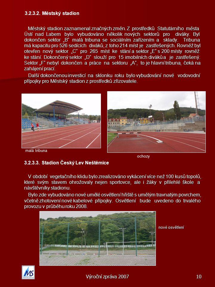 Výroční zpráva 200710 3.2.3.2.Městský stadion Městský stadion zaznamenal značných změn.