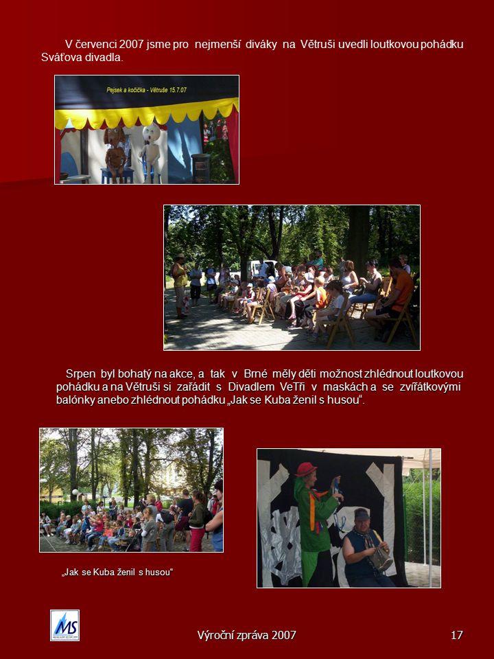Výroční zpráva 200717 V červenci 2007 jsme pro nejmenší diváky na Větruši uvedli loutkovou pohádku Sváťova divadla.