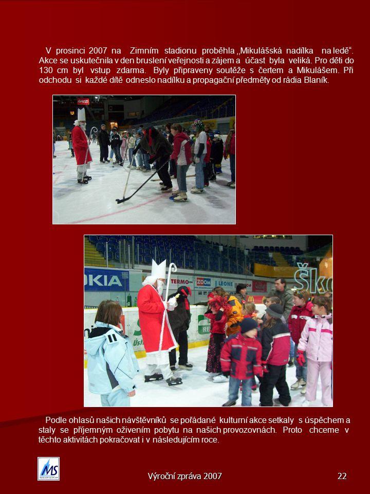 Výroční zpráva 2007 22 V prosinci 2007 na Zimním stadionu proběhla,,Mikulášská nadílka na ledě .