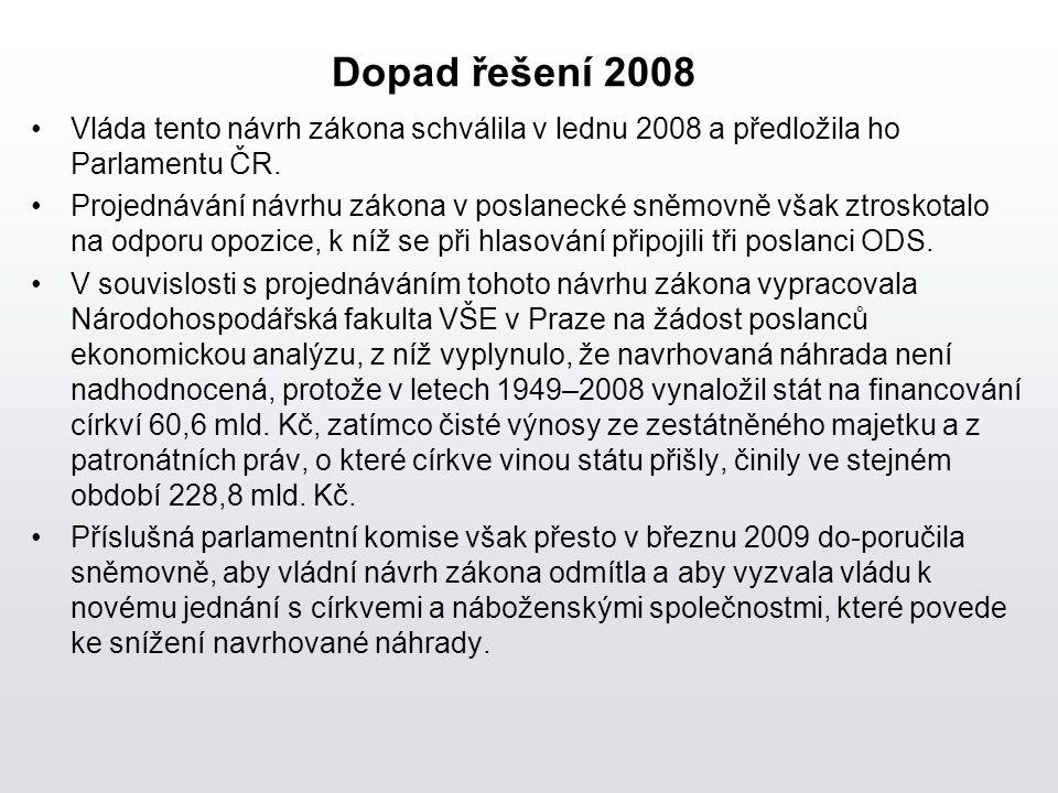 Dopad řešení 2008 Vláda tento návrh zákona schválila v lednu 2008 a předložila ho Parlamentu ČR. Projednávání návrhu zákona v poslanecké sněmovně však