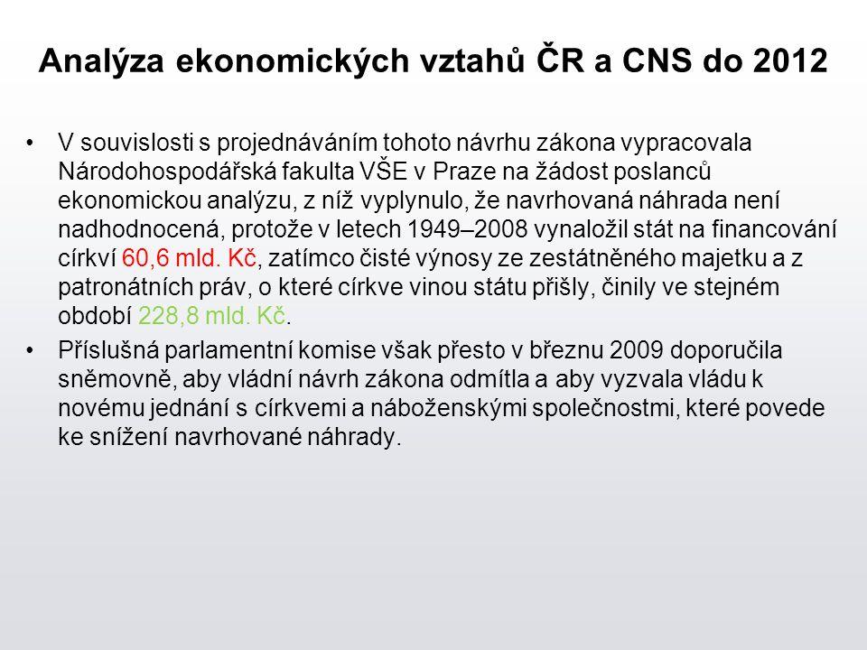 Analýza ekonomických vztahů ČR a CNS do 2012 V souvislosti s projednáváním tohoto návrhu zákona vypracovala Národohospodářská fakulta VŠE v Praze na žádost poslanců ekonomickou analýzu, z níž vyplynulo, že navrhovaná náhrada není nadhodnocená, protože v letech 1949–2008 vynaložil stát na financování církví 60,6 mld.