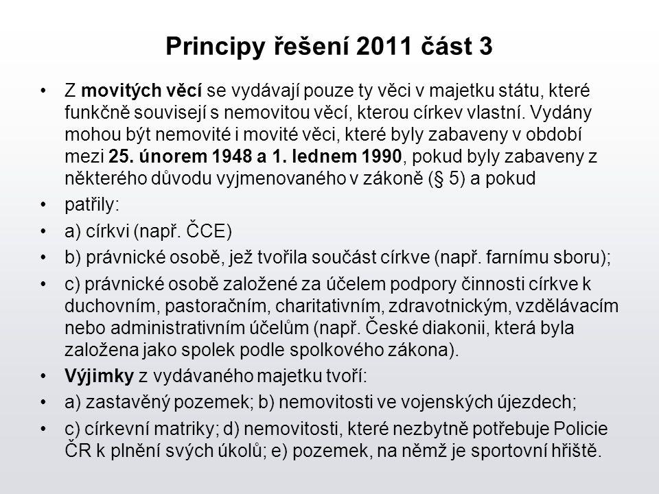 Principy řešení 2011 část 3 Z movitých věcí se vydávají pouze ty věci v majetku státu, které funkčně souvisejí s nemovitou věcí, kterou církev vlastní.