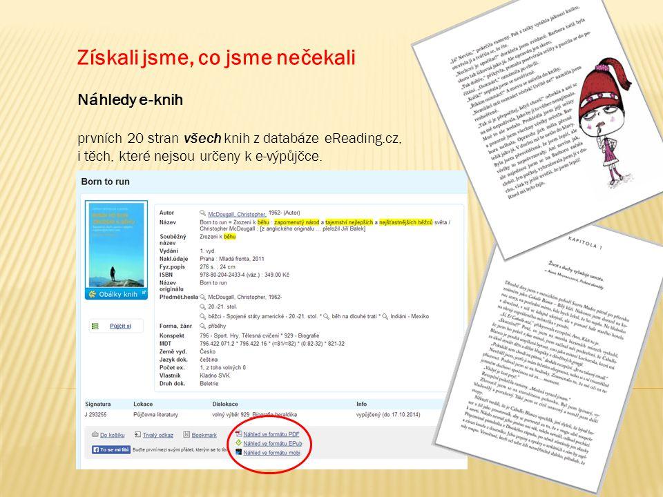 Získali jsme, co jsme nečekali Náhledy e-knih prvních 20 stran všech knih z databáze eReading.cz, i těch, které nejsou určeny k e-výpůjčce.