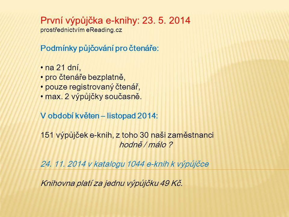 První výpůjčka e-knihy: 23. 5. 2014 prostřednictvím eReading.cz Podmínky půjčování pro čtenáře: na 21 dní, pro čtenáře bezplatně, pouze registrovaný č