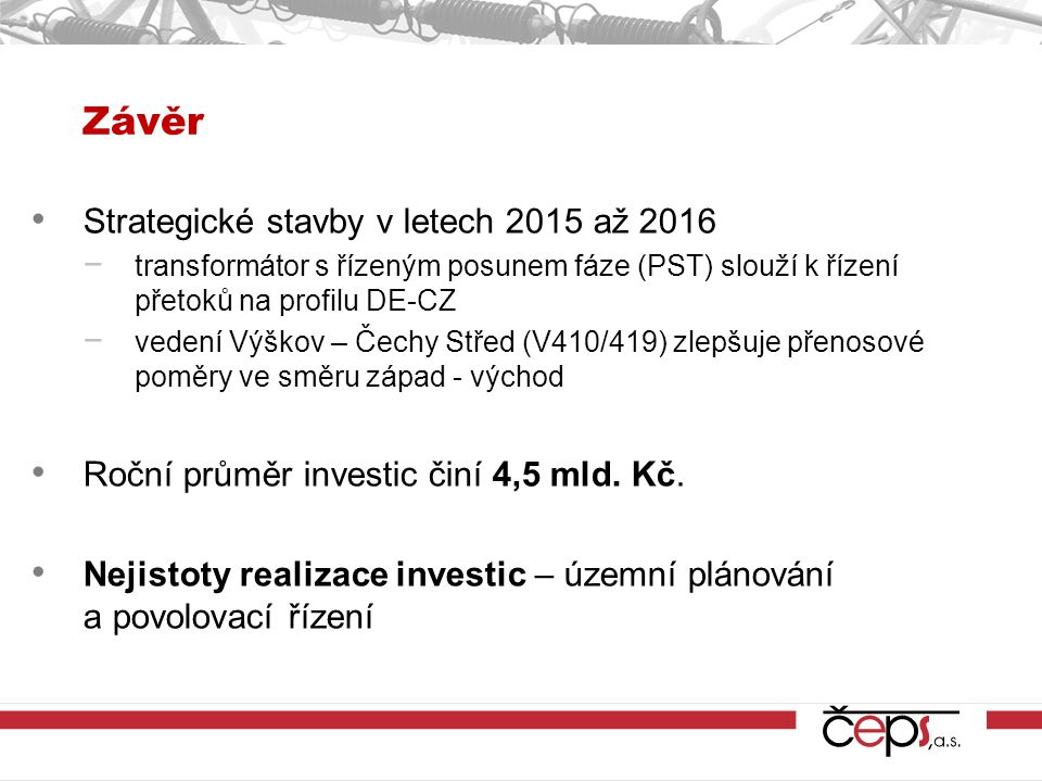 Závěr Strategické stavby v letech 2015 až 2016 − transformátor s řízeným posunem fáze (PST) slouží k řízení přetoků na profilu DE-CZ − vedení Výškov – Čechy Střed (V410/419) zlepšuje přenosové poměry ve směru západ - východ Roční průměr investic činí 4,5 mld.