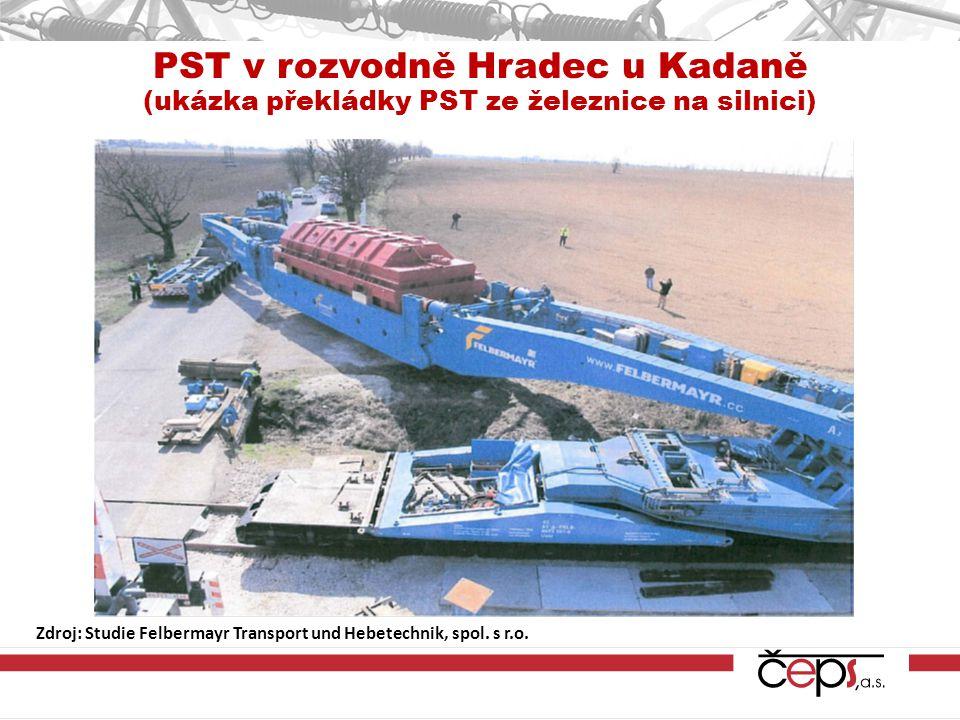 PST v rozvodně Hradec u Kadaně (ukázka překládky PST ze železnice na silnici) Zdroj: Studie Felbermayr Transport und Hebetechnik, spol.