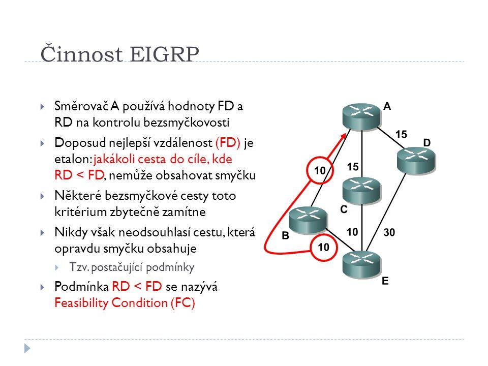 Činnost EIGRP  Směrovač A používá hodnoty FD a RD na kontrolu bezsmyčkovosti  Doposud nejlepší vzdálenost (FD) je etalon: jakákoli cesta do cíle, kde RD < FD, nemůže obsahovat smyčku  Některé bezsmyčkové cesty toto kritérium zbytečně zamítne  Nikdy však neodsouhlasí cestu, která opravdu smyčku obsahuje  Tzv.