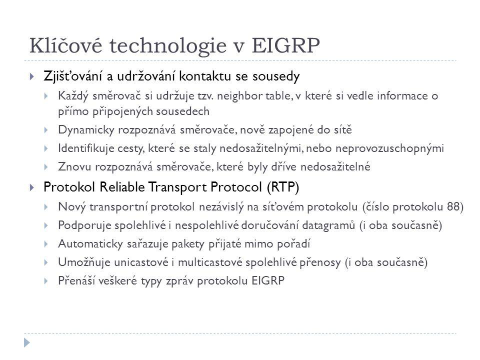 Klíčové technologie v EIGRP  Zjišťování a udržování kontaktu se sousedy  Každý směrovač si udržuje tzv.