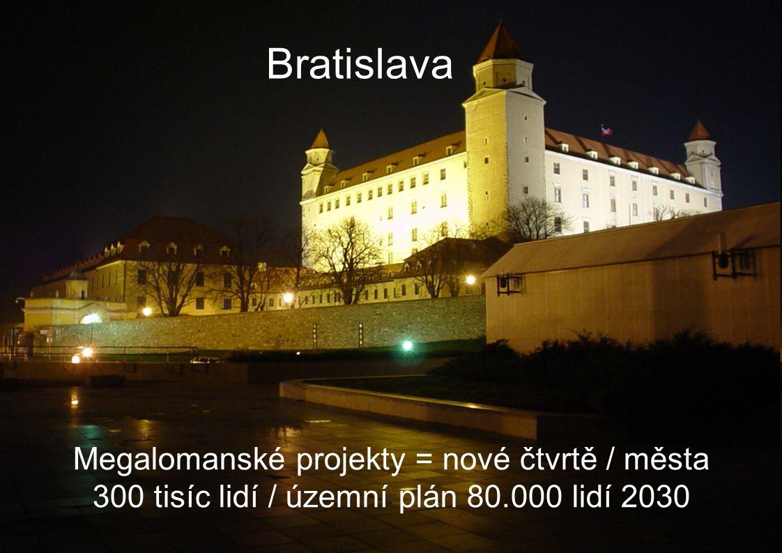 Bratislava Megalomanské projekty = nové čtvrtě / města 300 tisíc lidí / územní plán 80.000 lidí 2030
