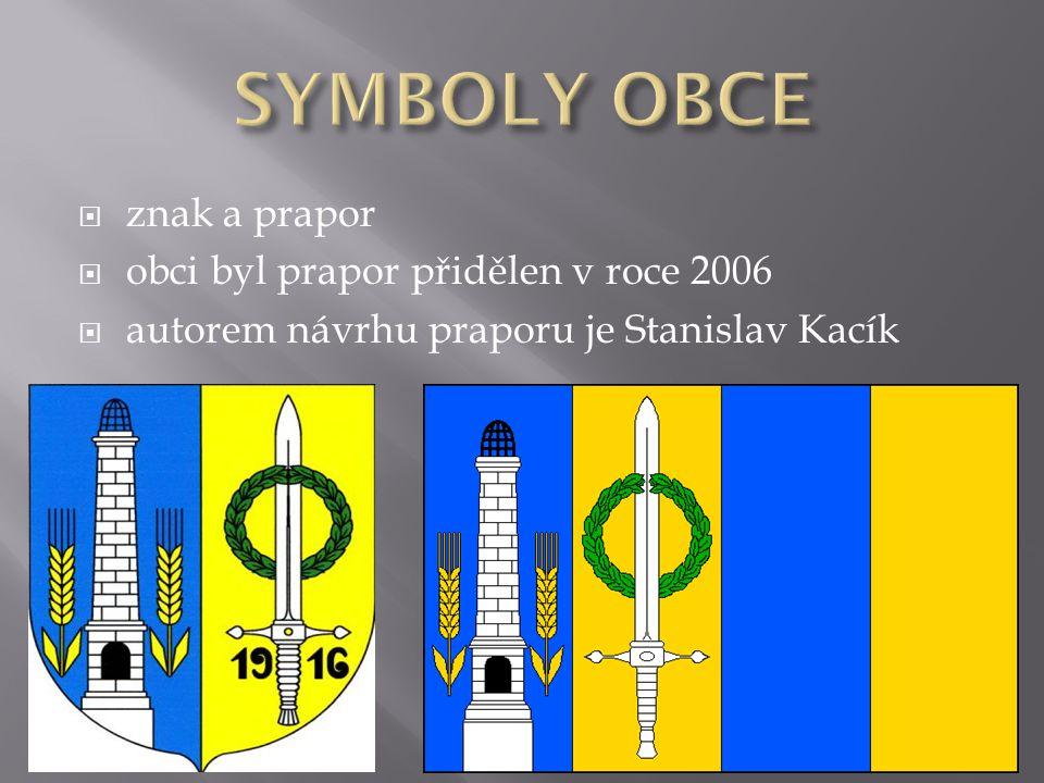  znak a prapor  obci byl prapor přidělen v roce 2006  autorem návrhu praporu je Stanislav Kacík