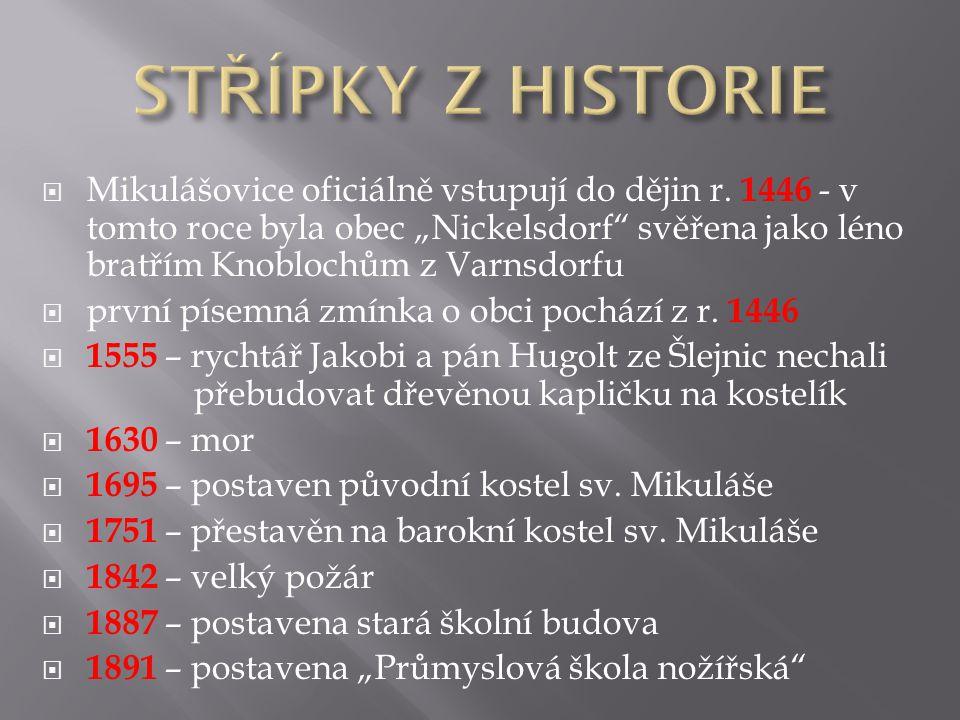  Mikulášovice oficiálně vstupují do dějin r.