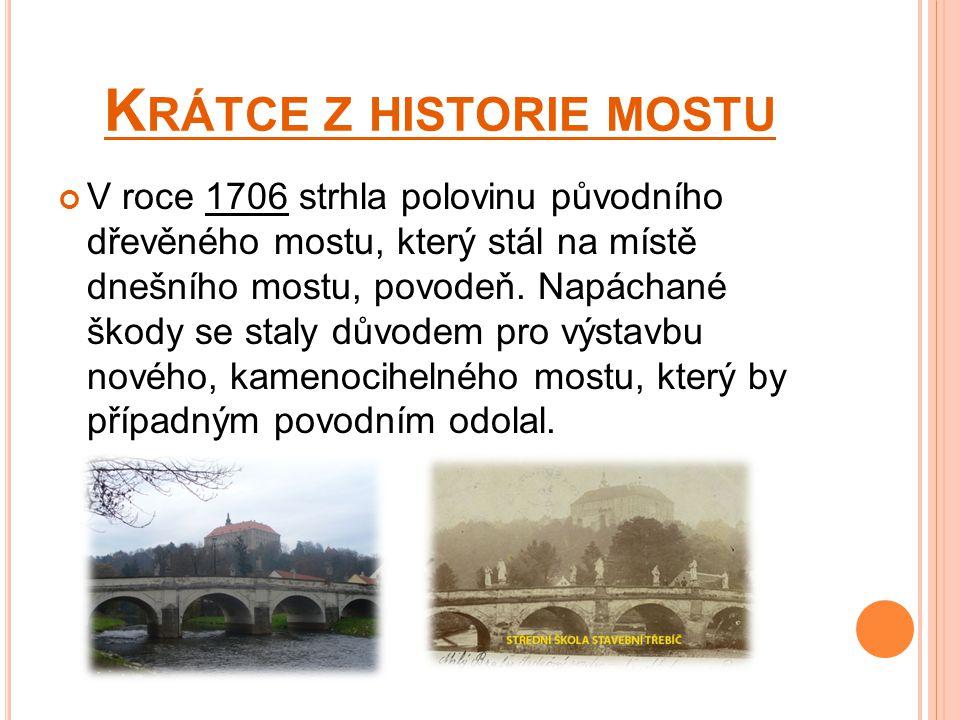 K RÁTCE Z HISTORIE MOSTU V roce 1706 strhla polovinu původního dřevěného mostu, který stál na místě dnešního mostu, povodeň.