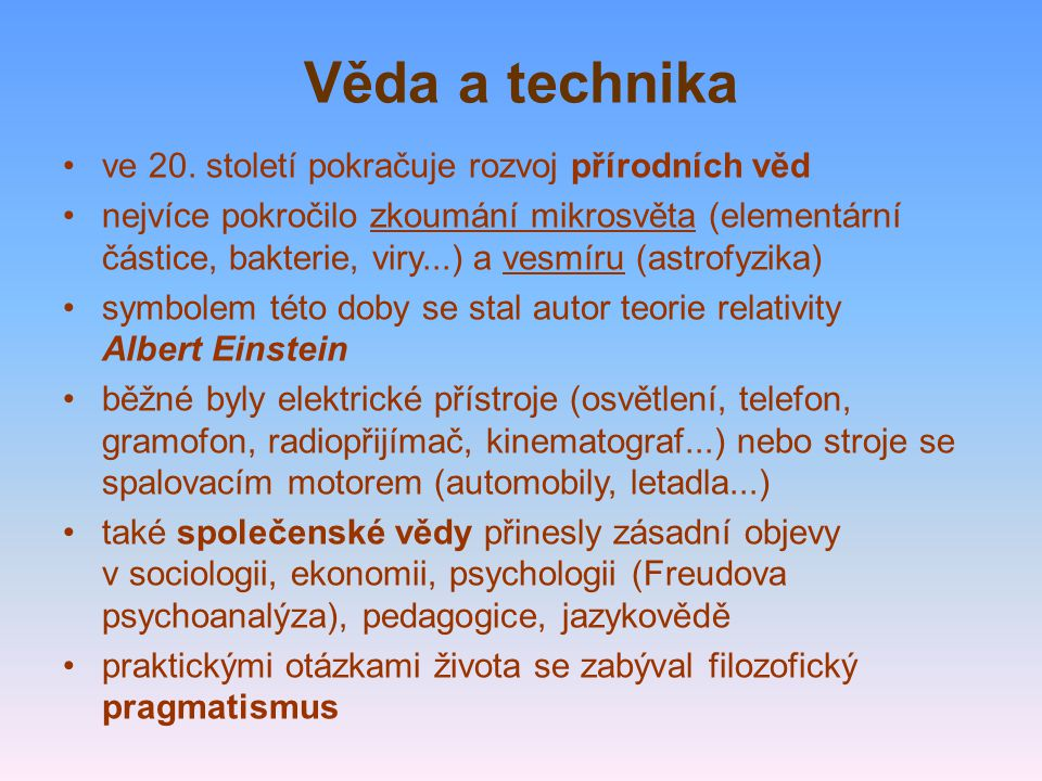 Věda a technika ve 20.