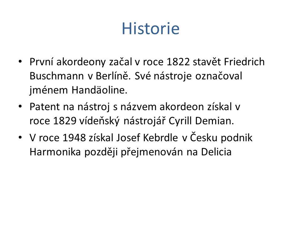 Historie První akordeony začal v roce 1822 stavět Friedrich Buschmann v Berlíně. Své nástroje označoval jménem Handäoline. Patent na nástroj s názvem