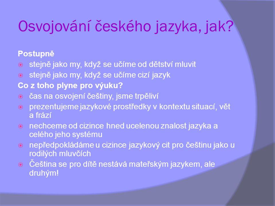 Osvojování českého jazyka, jak? Postupně  stejně jako my, když se učíme od dětství mluvit  stejně jako my, když se učíme cizí jazyk Co z toho plyne