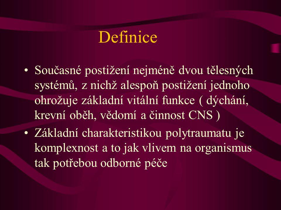 Definice Současné postižení nejméně dvou tělesných systémů, z nichž alespoň postižení jednoho ohrožuje základní vitální funkce ( dýchání, krevní oběh,