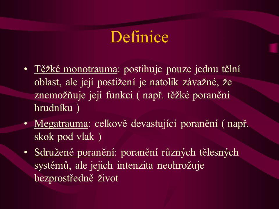 Definice Těžké monotrauma: postihuje pouze jednu tělní oblast, ale její postižení je natolik závažné, že znemožňuje její funkci ( např. těžké poranění