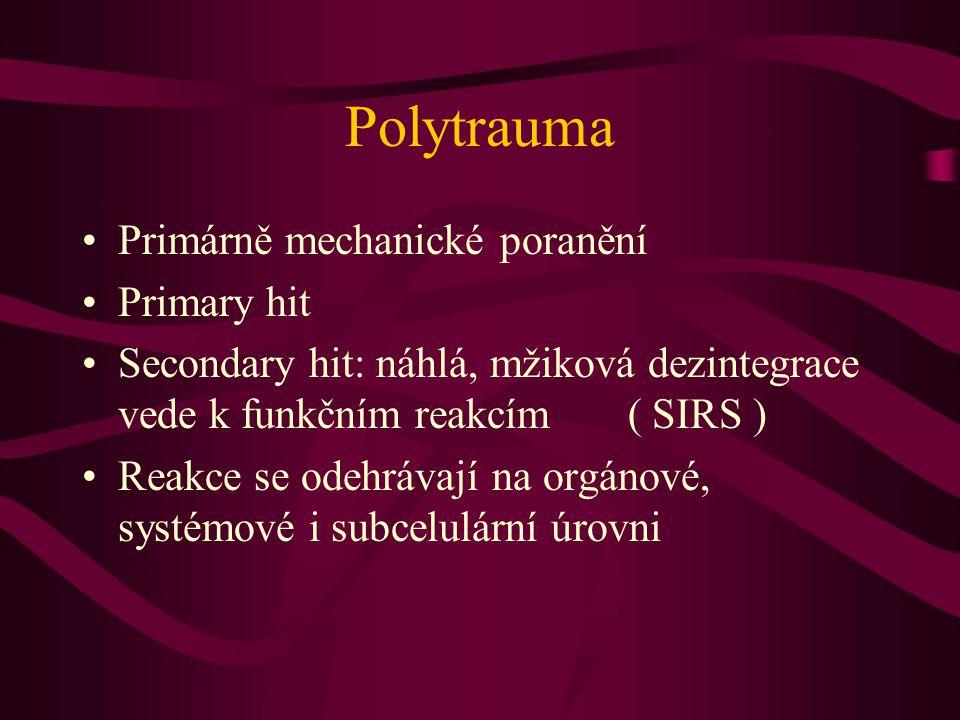 Polytrauma Primárně mechanické poranění Primary hit Secondary hit: náhlá, mžiková dezintegrace vede k funkčním reakcím ( SIRS ) Reakce se odehrávají n