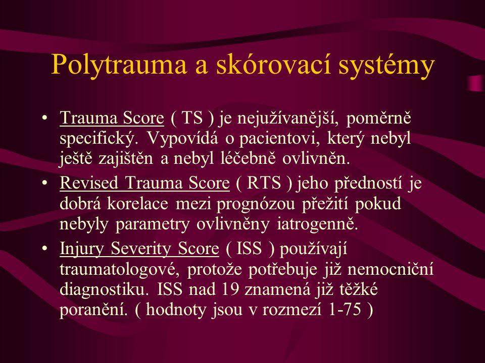 Polytrauma a skórovací systémy Trauma Score ( TS ) je nejužívanější, poměrně specifický. Vypovídá o pacientovi, který nebyl ještě zajištěn a nebyl léč