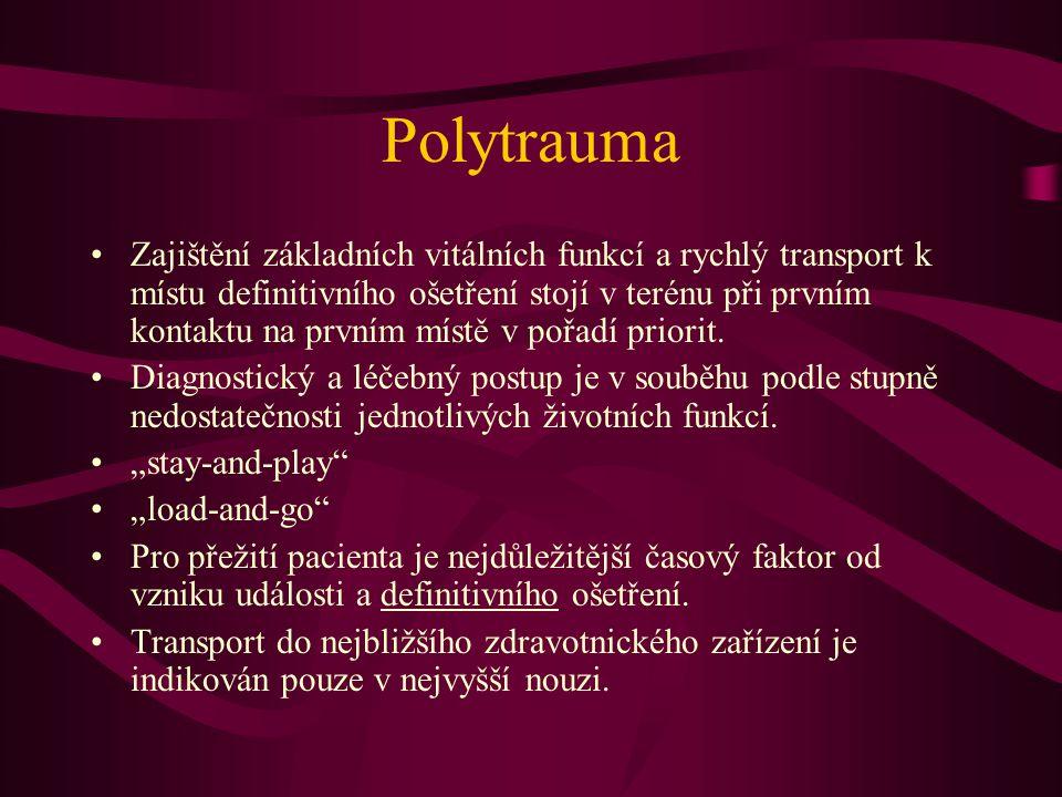 Polytrauma Zajištění základních vitálních funkcí a rychlý transport k místu definitivního ošetření stojí v terénu při prvním kontaktu na prvním místě
