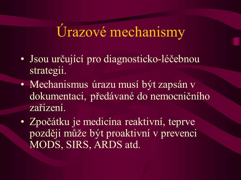 Úrazové mechanismy Jsou určující pro diagnosticko-léčebnou strategii. Mechanismus úrazu musí být zapsán v dokumentaci, předávané do nemocničního zaříz