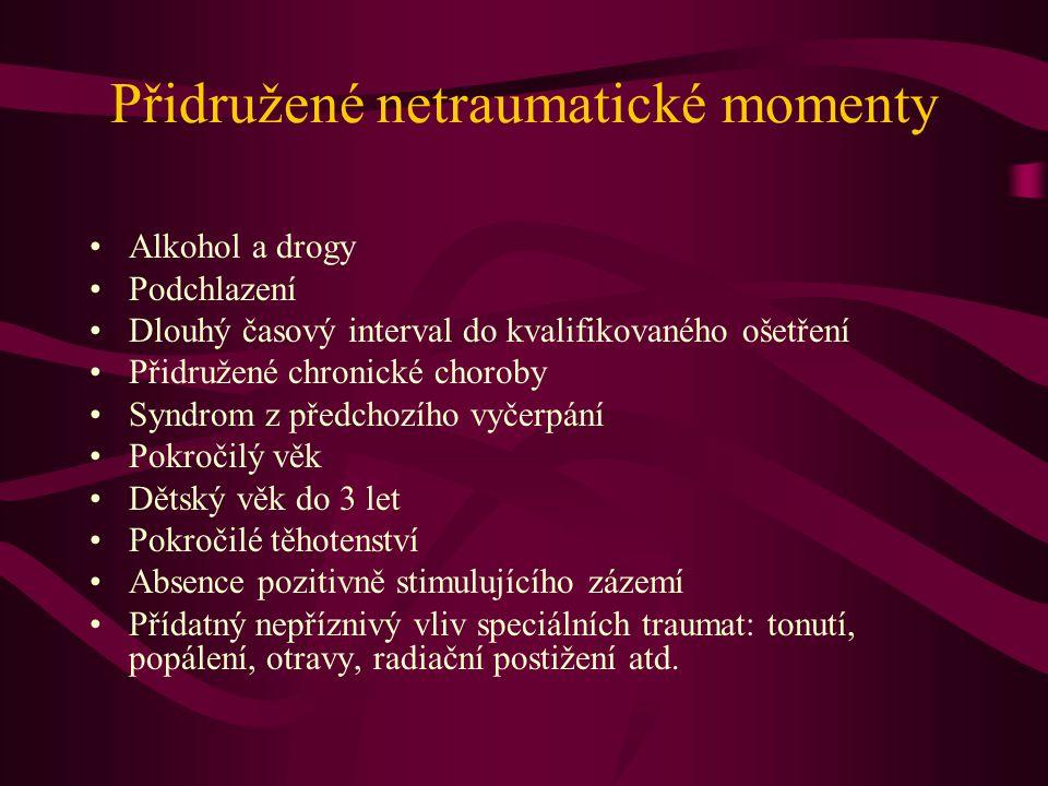 Přidružené netraumatické momenty Alkohol a drogy Podchlazení Dlouhý časový interval do kvalifikovaného ošetření Přidružené chronické choroby Syndrom z