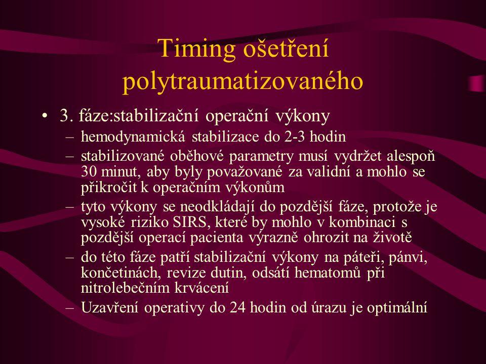 Timing ošetření polytraumatizovaného 3. fáze:stabilizační operační výkony –hemodynamická stabilizace do 2-3 hodin –stabilizované oběhové parametry mus