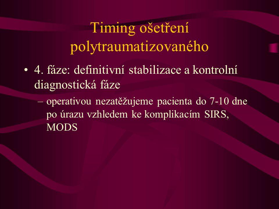 Timing ošetření polytraumatizovaného 4. fáze: definitivní stabilizace a kontrolní diagnostická fáze –operativou nezatěžujeme pacienta do 7-10 dne po ú