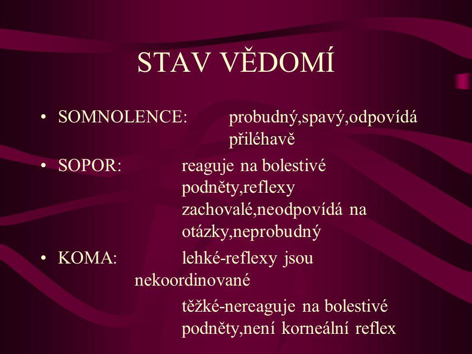 STAV VĚDOMÍ SOMNOLENCE:probudný,spavý,odpovídá přiléhavě SOPOR:reaguje na bolestivé podněty,reflexy zachovalé,neodpovídá na otázky,neprobudný KOMA:leh