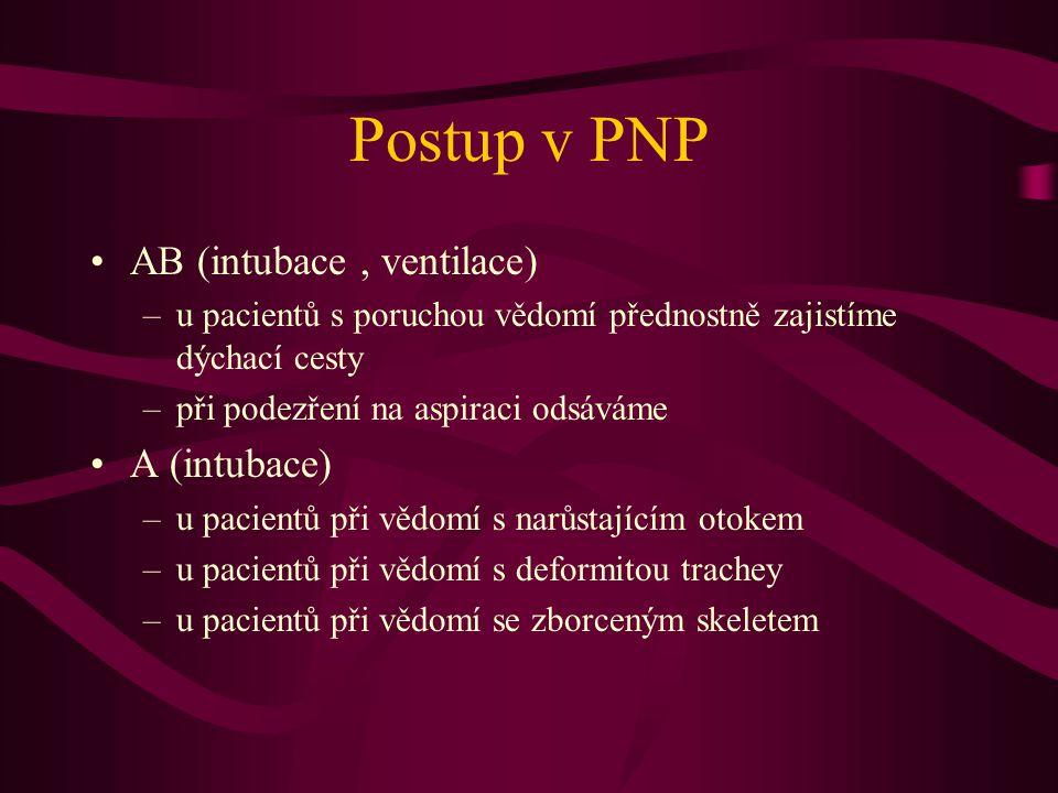 Postup v PNP AB (intubace, ventilace) –u pacientů s poruchou vědomí přednostně zajistíme dýchací cesty –při podezření na aspiraci odsáváme A (intubace