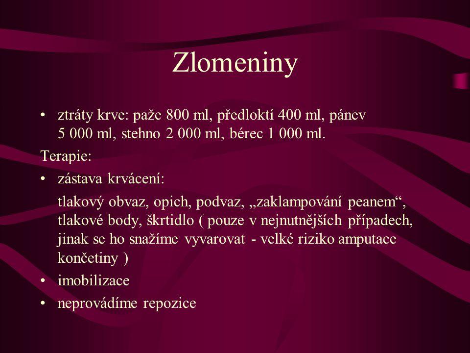 Zlomeniny ztráty krve: paže 800 ml, předloktí 400 ml, pánev 5 000 ml, stehno 2 000 ml, bérec 1 000 ml. Terapie: zástava krvácení: tlakový obvaz, opich