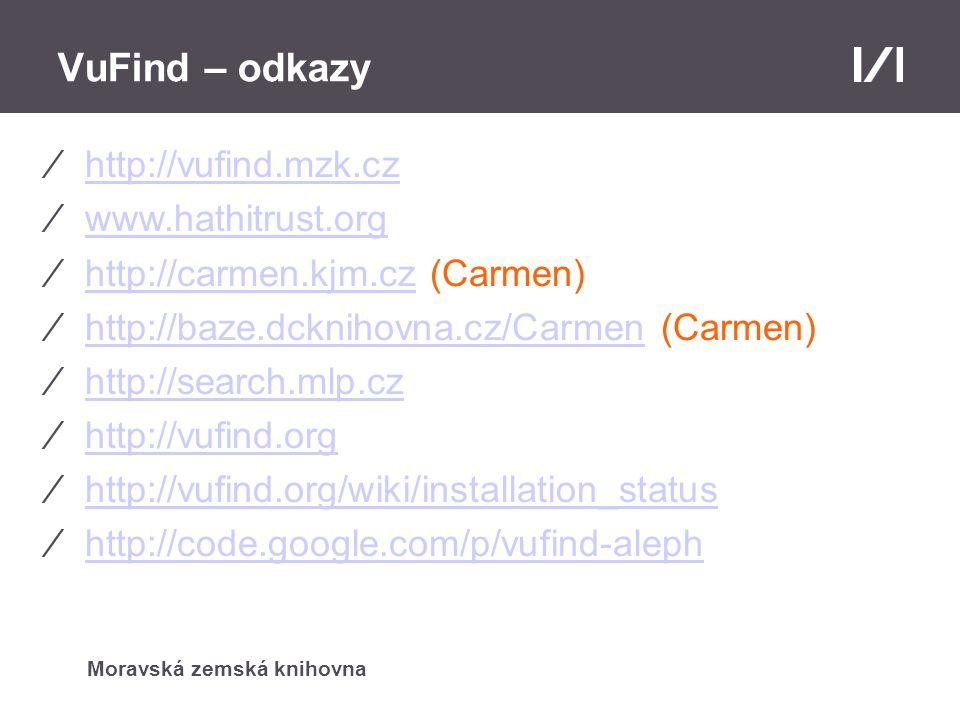 Moravská zemská knihovna VuFind – odkazy ⁄http://vufind.mzk.czhttp://vufind.mzk.cz ⁄www.hathitrust.orgwww.hathitrust.org ⁄http://carmen.kjm.cz (Carmen