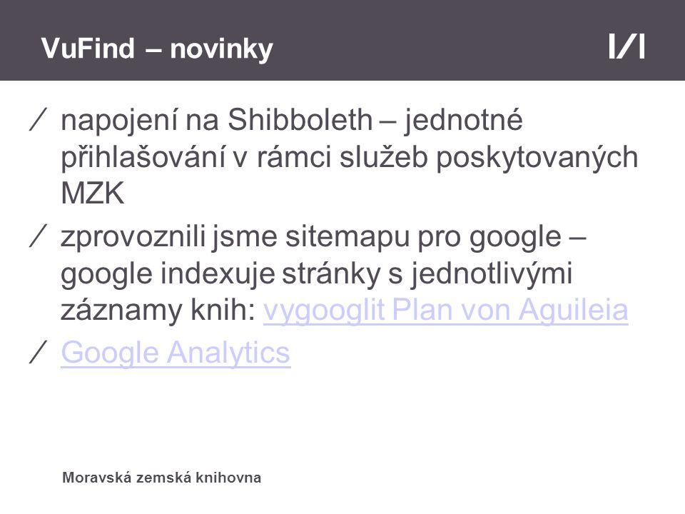 Moravská zemská knihovna VuFind – novinky ⁄napojení na Shibboleth – jednotné přihlašování v rámci služeb poskytovaných MZK ⁄zprovoznili jsme sitemapu