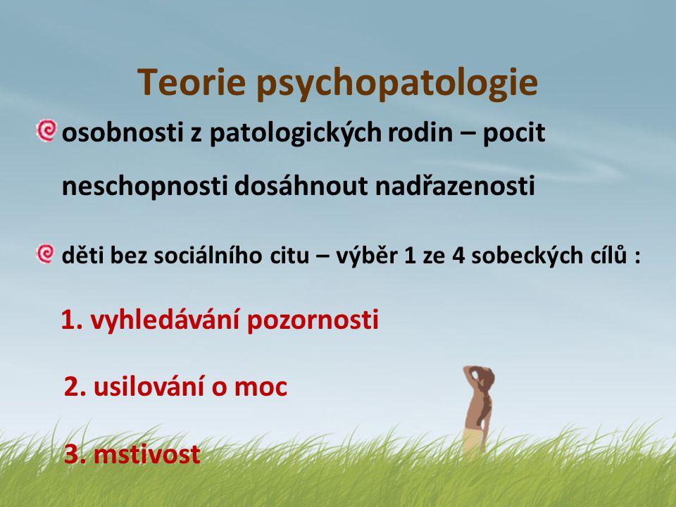 Teorie psychopatologie osobnosti z patologických rodin – pocit neschopnosti dosáhnout nadřazenosti děti bez sociálního citu – výběr 1 ze 4 sobeckých c